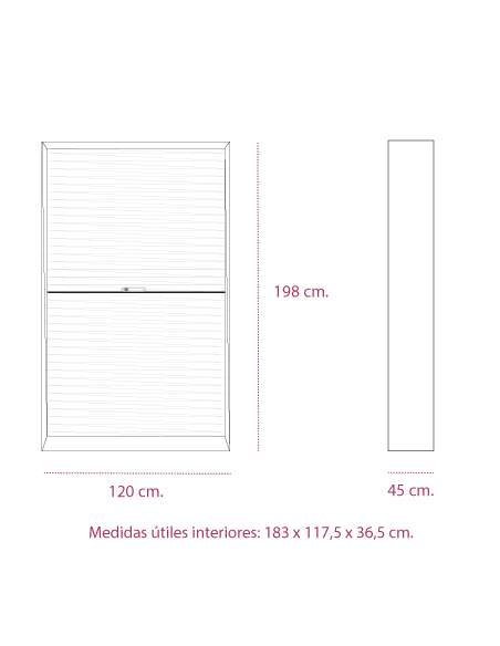 Medidas armario metalico persiana horizontal de 198 cm. altura de gapsa