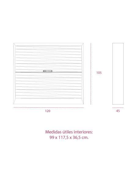 Medidas armario persiana horizontal de 105 cm. de gapsa