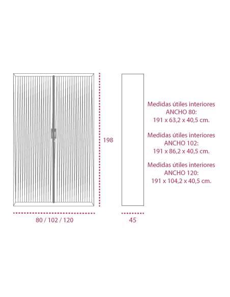 Medidas armario metalico persiana vertical de 198 cm. de gapsa