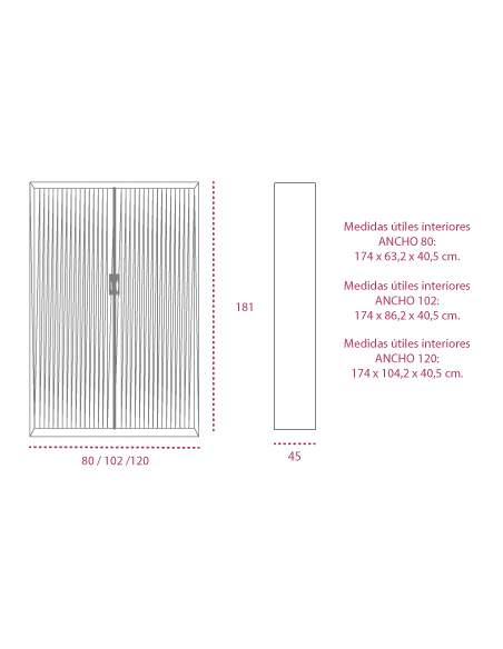 Medidas armarios persiana vertical de 181 cm. de altura de gapsa