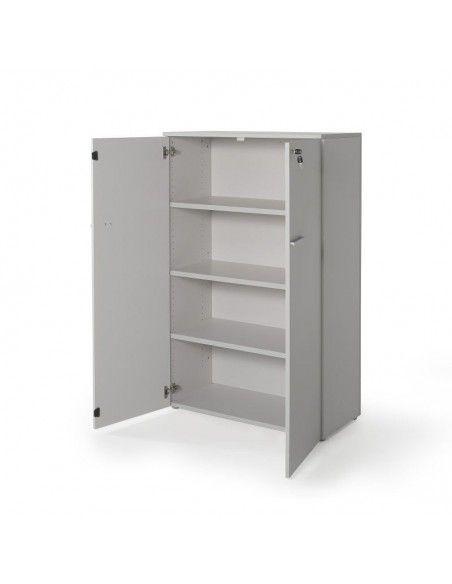 Armario oficina con puertas, cerradura y estantes de JGorbe en gris
