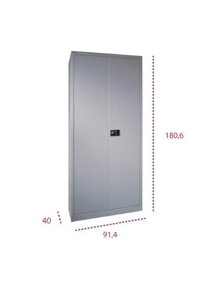 Medidas armario metálico alto con puertas abatibles y cerradura de bisley