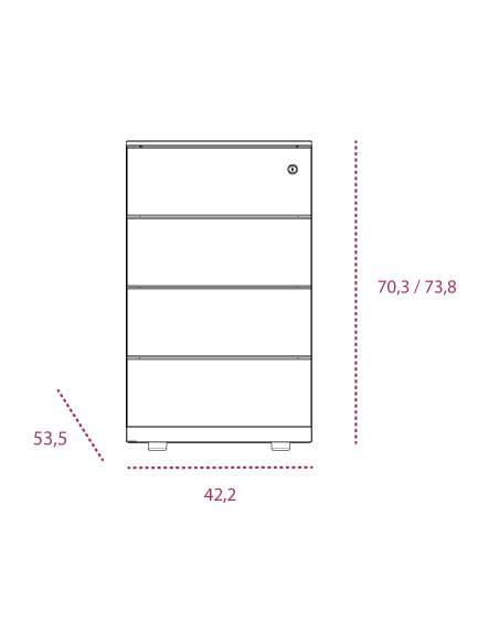 Medidas cajonera metálica 4 cajones altura mesa de gapsa