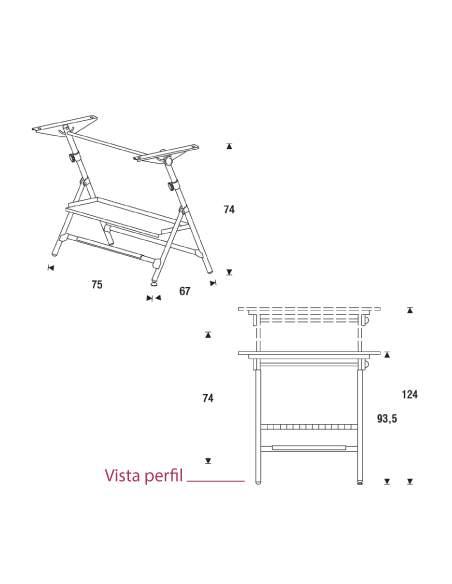 Medidas mesa de dibujo plegable de rocada