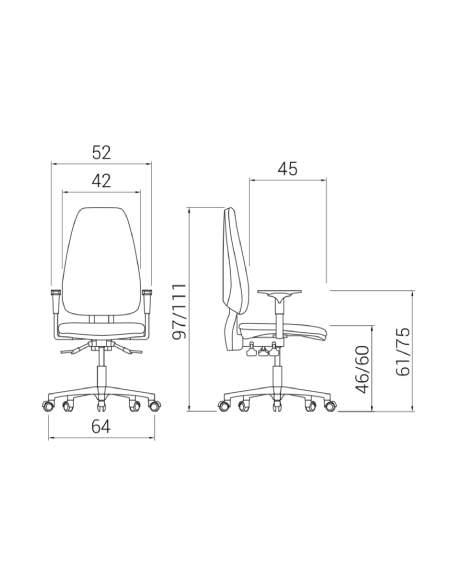 Medidas silla de oficina Adapta Pro de Dileoffice
