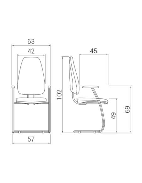Medidas silla confidente Adapta con base patín de Dileoffice