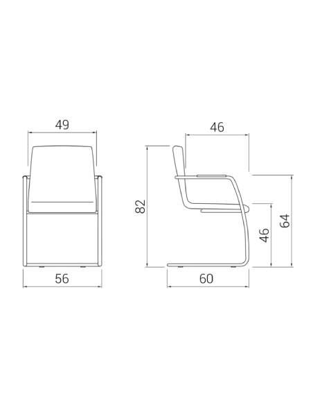 Medidas silla confidente custom de dileoffice con base patín
