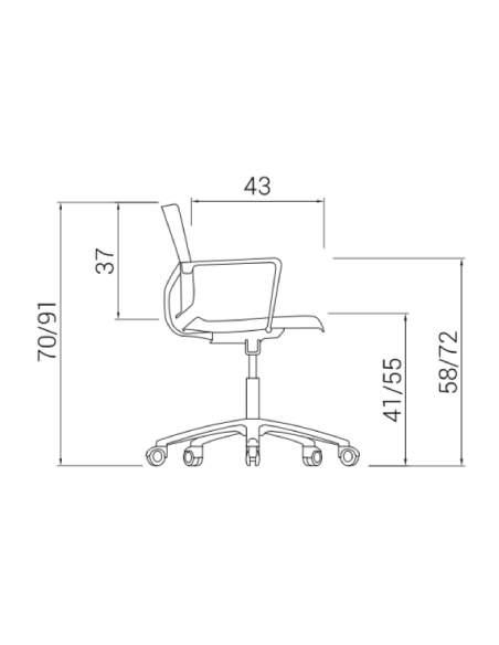 Medidas silla de estudio Atenea de dileoffice vista lateral
