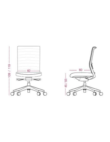 Medidas silla despacho Lena de tecno-ofiss