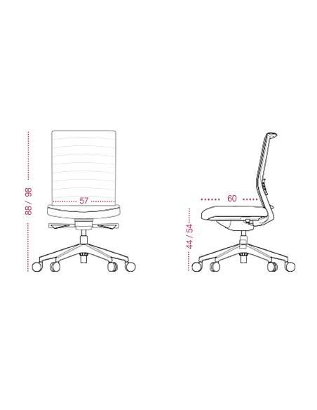 Medidas silla oficina lena con respaldo bajo de tecno-ofiss