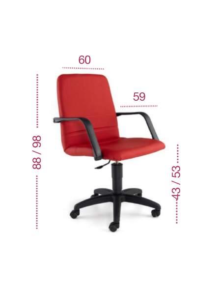Medidas silla oficina confort con respaldo bajo de tecno-ofiss