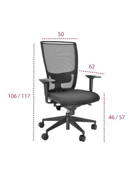 Medidas silla trabajo myst red de tecno-ofiss