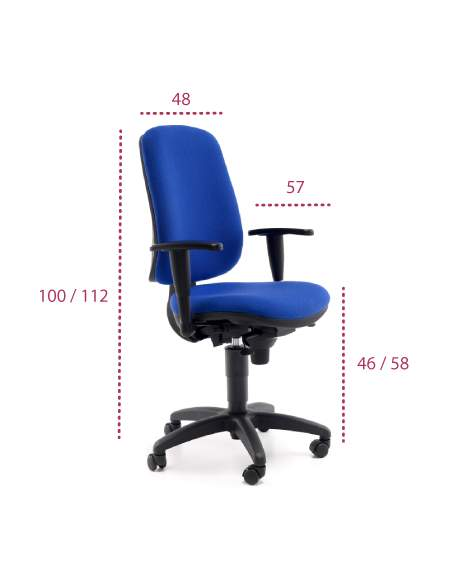 Medidas silla de oficina Anthea de tecno-ofiss