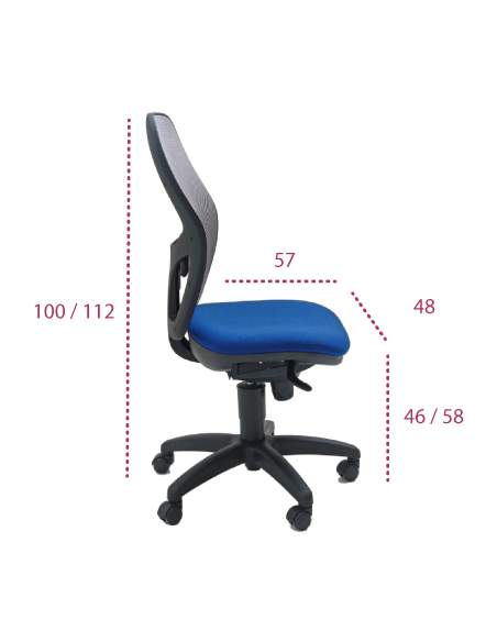 Medidas silla trabajo Anthea red de tecno-ofiss