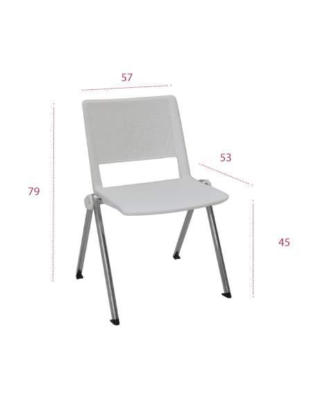 Medidas silla confidente track de tecno-ofiss