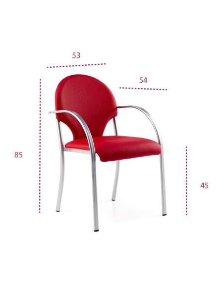 Medidas silla confidente tefis heart de tecno-ofiss