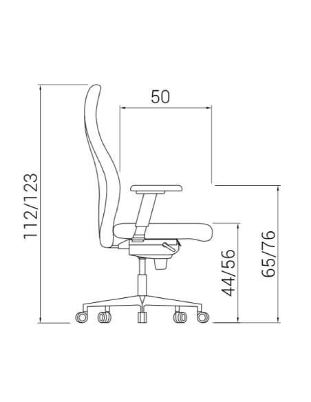 Medidas sillon direccion XL de dileoffice vista lateral