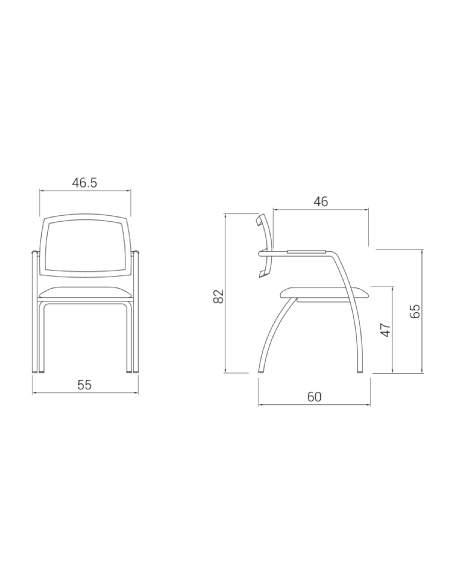 Medidas silla confidente urban de dileoffice con respaldo de malla