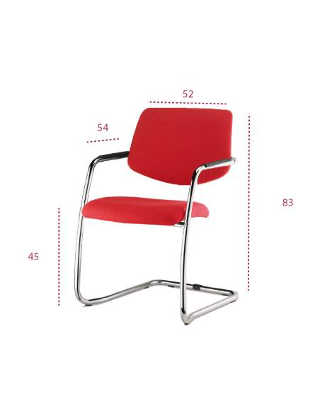 Medidas silla confidente tapizado con base patín de vincolo