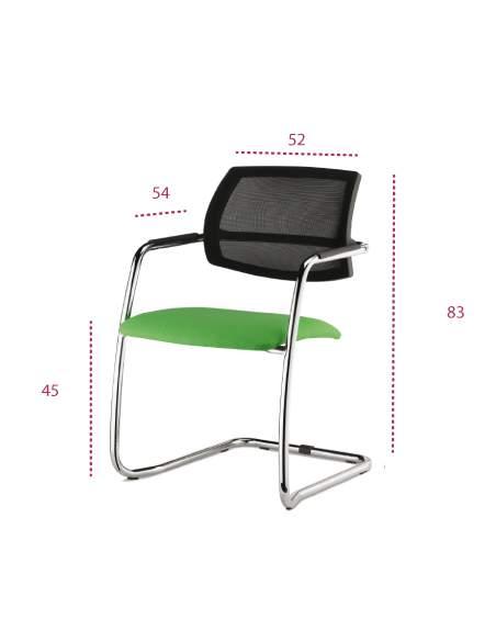Medidas silla confidente eva de vincolo con respaldo de malla