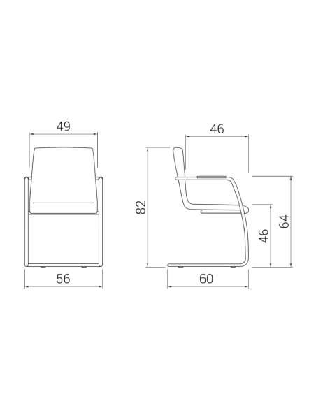 Medidas silla confidente custom de madera con base patín de dileoffice