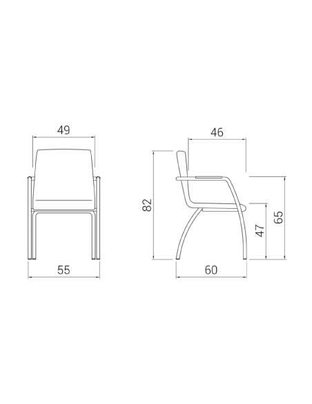 Medidas silla confidente de madera Custom con 4 patas de dileoffice