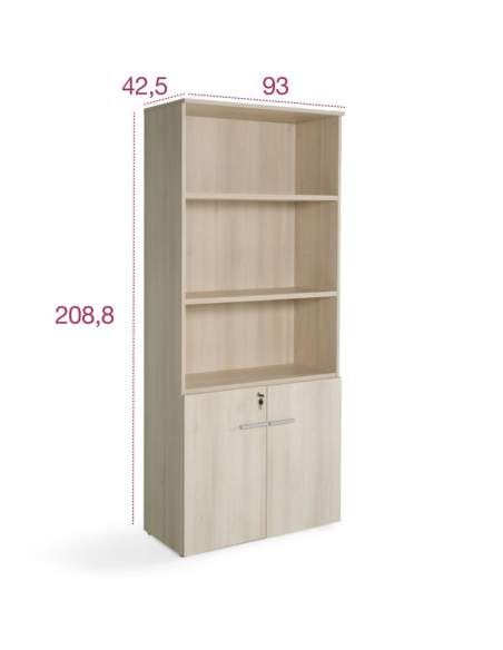 Medidas armario oficina madera con puertas bajas de jgorbe y entrega rapida