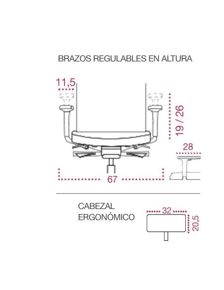 Medidas brazos silla ergonomica business de kulik system