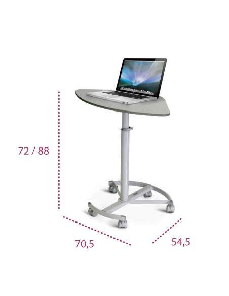 Medidas mesa portátil con ruedas de systemtronic