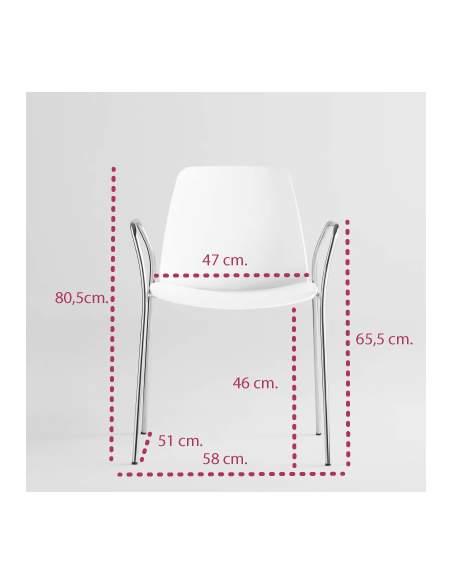 Medidas silla de diseño unnia con brazos de inclass