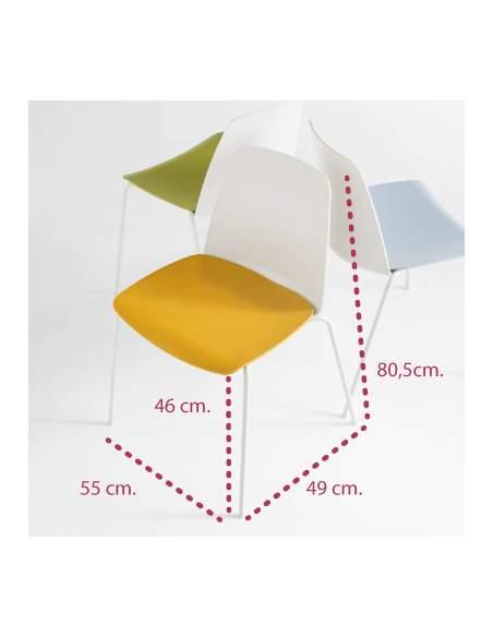 Medidas silla confidente unnia de inclass en varios colores
