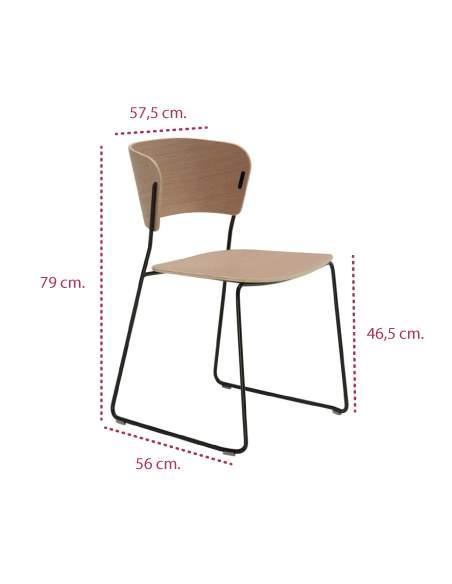 Medidas silla de diseño arc de inclass con pie varilla y de madera