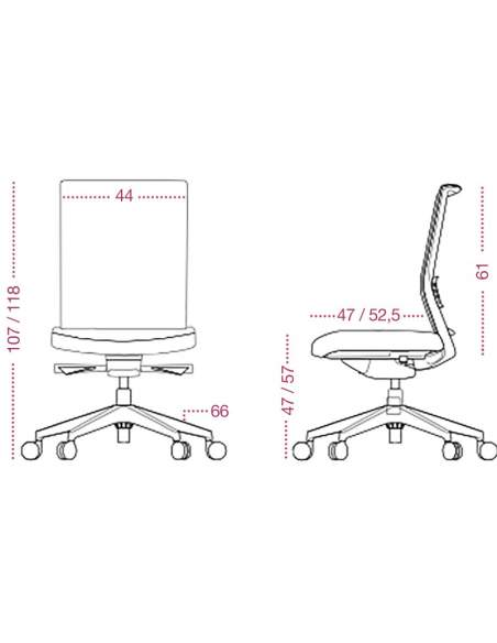 Medidas sillas ergonómicas Kind de tecno-ofiss con respaldo de malla