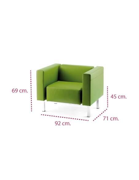 Medidas sofa oficina zen de 1 plaza de intacor