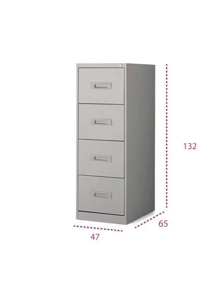Medidas mueble archivador metálico de 4 cajones de more squared