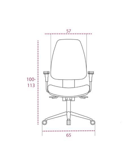 Medidas silla blanca oficina equis de vincolo vista frontal