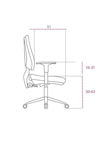 Medidas silla blanca oficina equis de vincolo vista lateral
