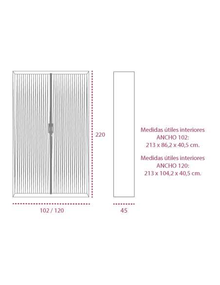 Medidas armario metálico persiana vertical de 220 cm. de altura