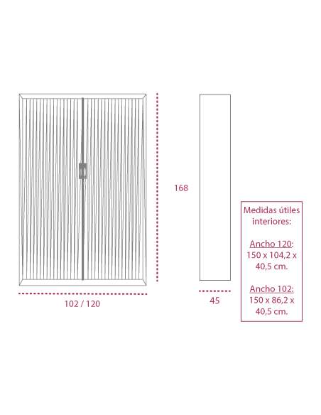 Medidas armario metálico con ruedas y persiana vertical de gapsa de 168 cm. altura