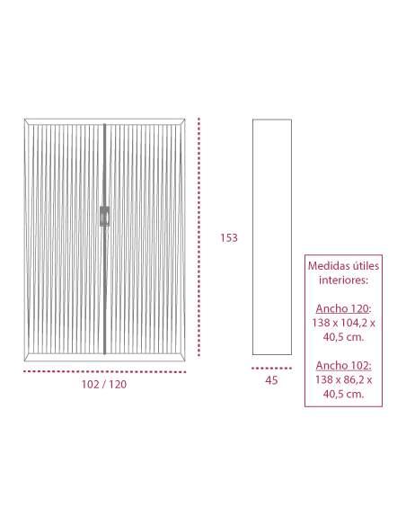 Medidas armario metálico con ruedas y persiana vertical de gapsa de 153 cm. altura
