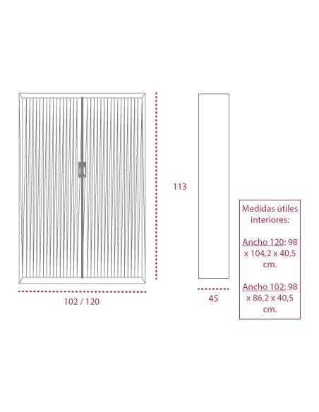 Medidas armario metálico con ruedas y persiana vertical de gapsa de 113 cm. altura