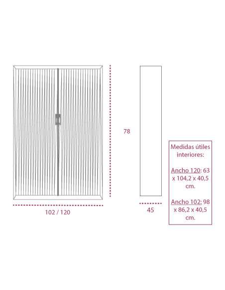 Medidas armario metálico con ruedas y persiana vertical de gapsa de 78 cm. altura