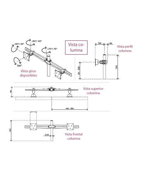 Medidas soporte monitor multipantalla belsati