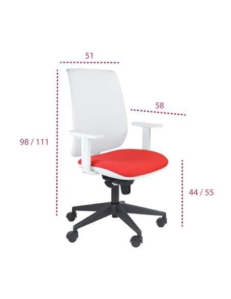 Medidas silla escritorio blanca aida de tecno-ofiss