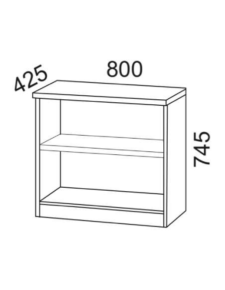 Medidas estantería baja de madera para oficina de kesta