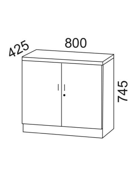 Medidas armario madera oficina bajo con puertas y cerradura de kesta