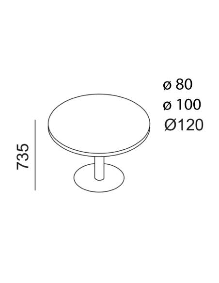 Medidas mesa reuniones redonda de madera de kesta