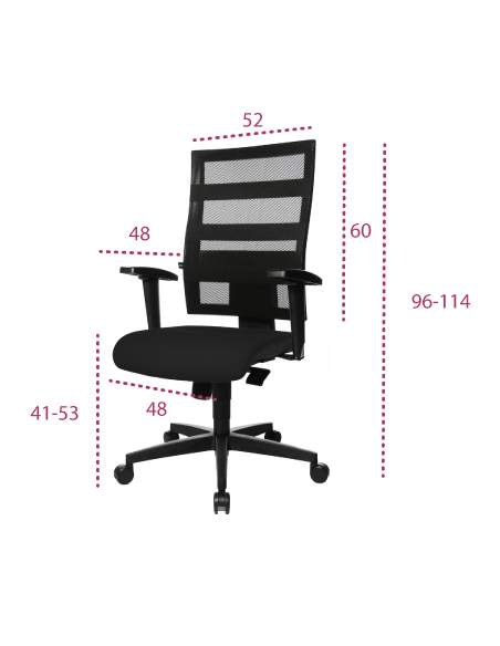 Medidas silla ergonomica oficina x-pander de topstar
