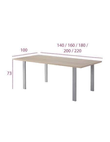 Medidas mesa reuniones portico de jgorbe con pata metálica