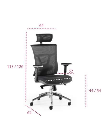 Medidas silla ergonomica oficina ankara de euromof